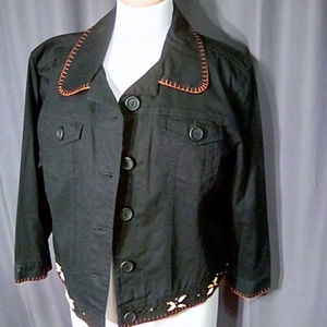 Ruby Rd. Size 16 black jean jacket with accents